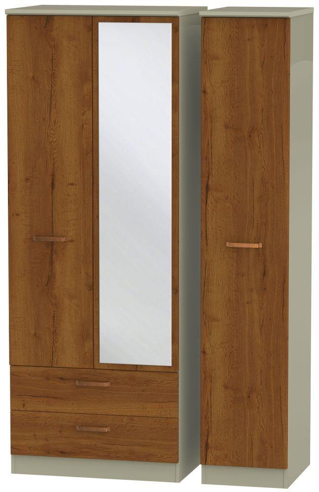Buckingham Bali Oak 3 Door 2 Left Drawer Tall Mirror Triple Wardrobe