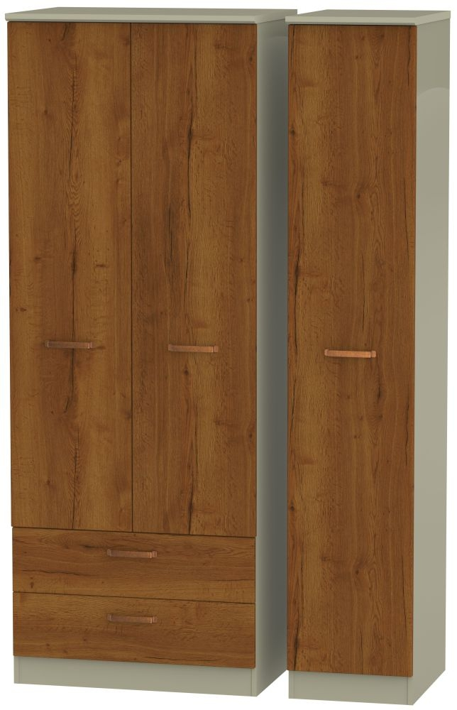 Buckingham Bali Oak 3 Door 2 Drawer Tall Wardrobe