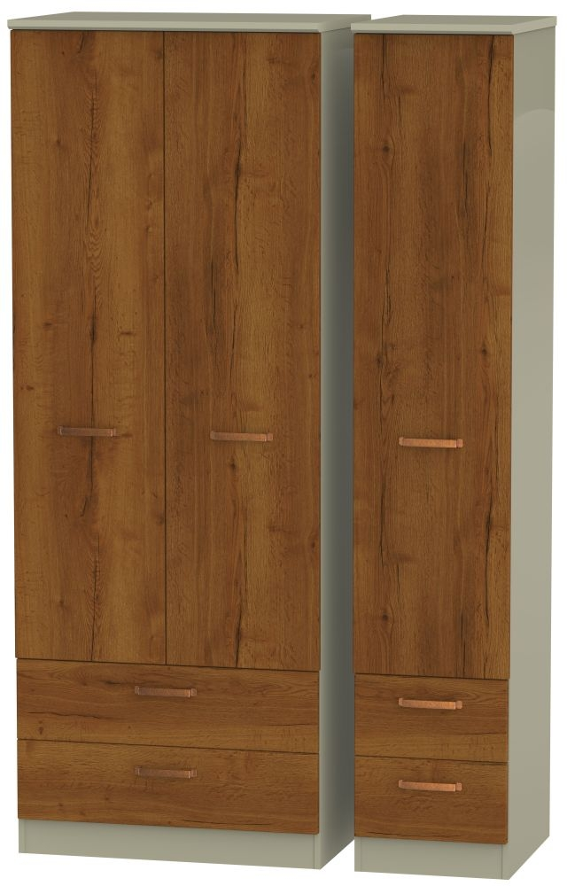 Buckingham Bali Oak 3 Door 4 Drawer Tall Wardrobe