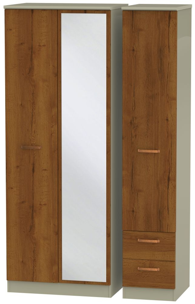 Buckingham Bali Oak 3 Door 2 Right Drawer Tall Combi Wardrobe