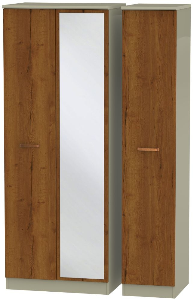 Buckingham Bali Oak 3 Door Tall Mirror Triple Wardrobe
