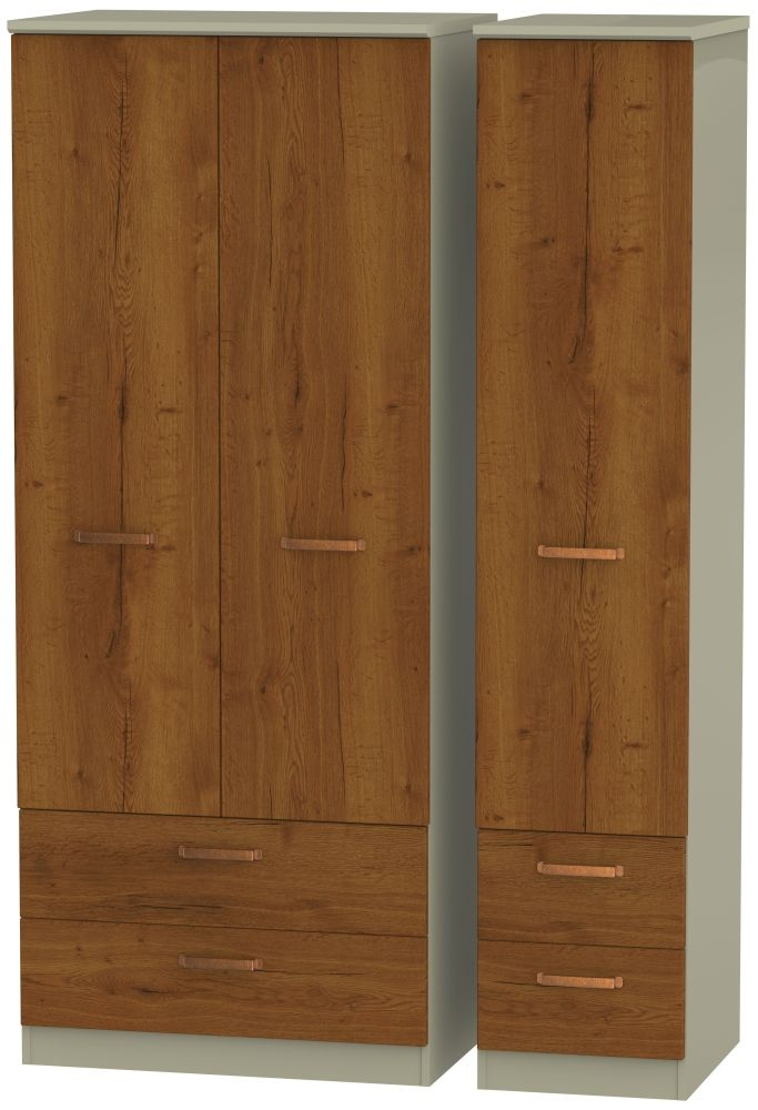 Buckingham Bali Oak 3 Door 4 Drawer Wardrobe