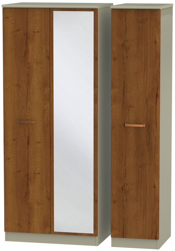Buckingham Bali Oak 3 Door Mirror Wardrobe