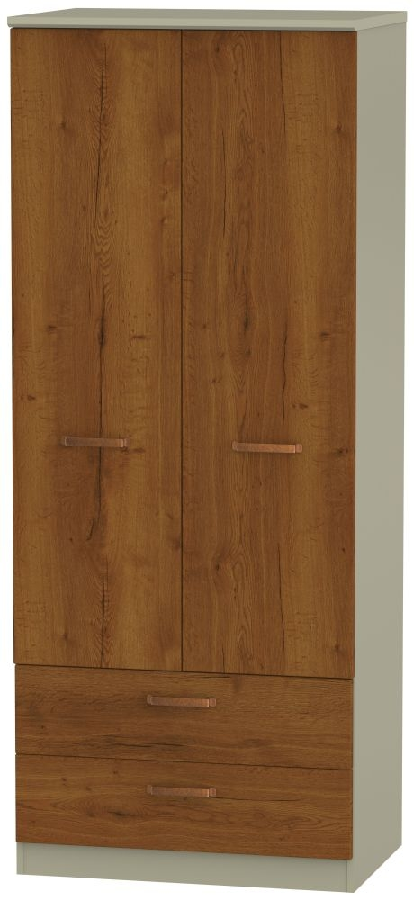 Buckingham Bali Oak Wardrobe - 2ft 6in 2 Drawer