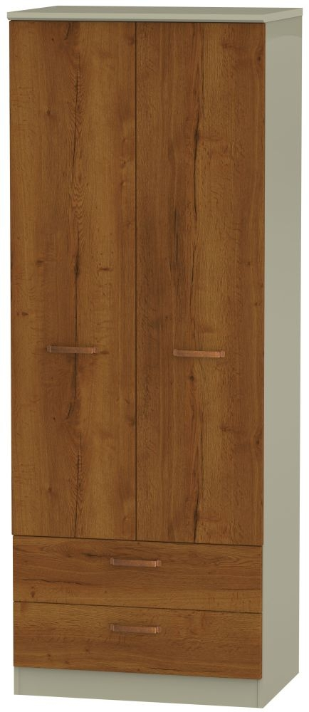 Buckingham Bali Oak 2 Door 2 Drawer Tall Wardrobe
