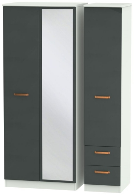 Buckingham Graphite 3 Door 2 Right Drawer Mirror Wardrobe