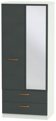 Buckingham Graphite 2 Door Mirror Combi Wardrobe