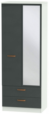 Buckingham Graphite 2 Door 2 Drawer Tall Combi Wardrobe