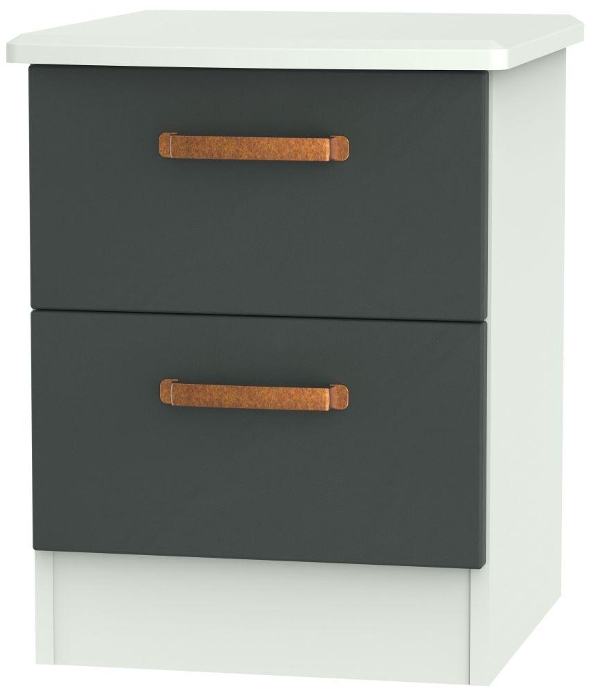 Buckingham Graphite Bedside Cabinet - 2 Drawer Locker