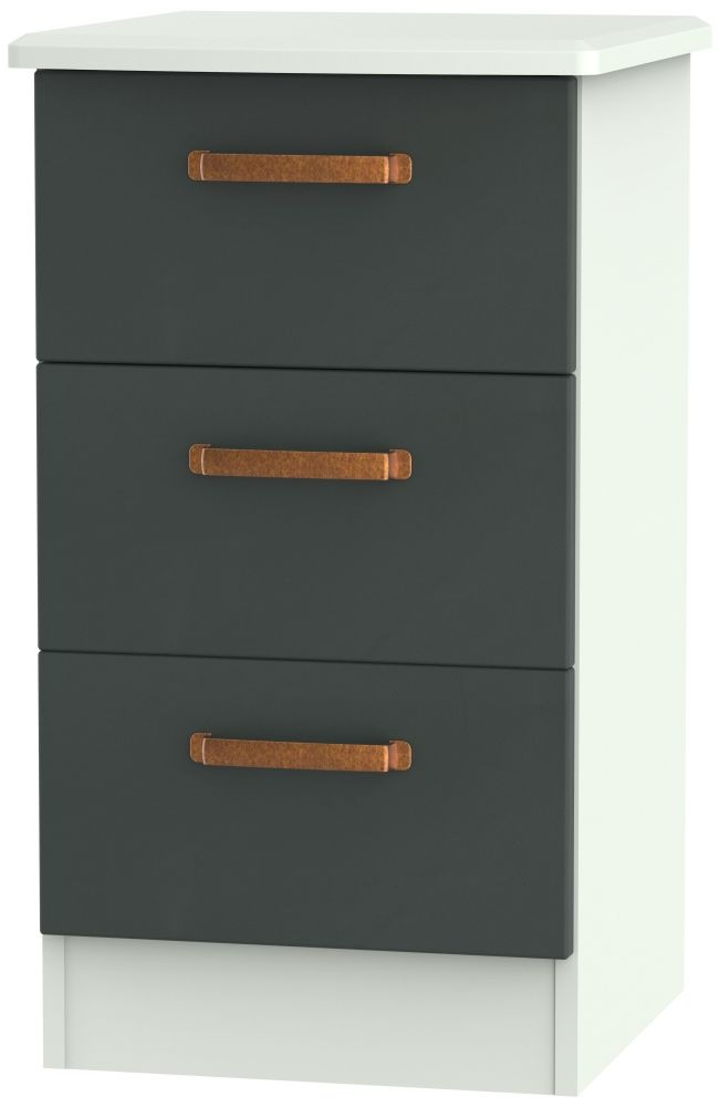 Buckingham Graphite Bedside Cabinet - 3 Drawer Locker