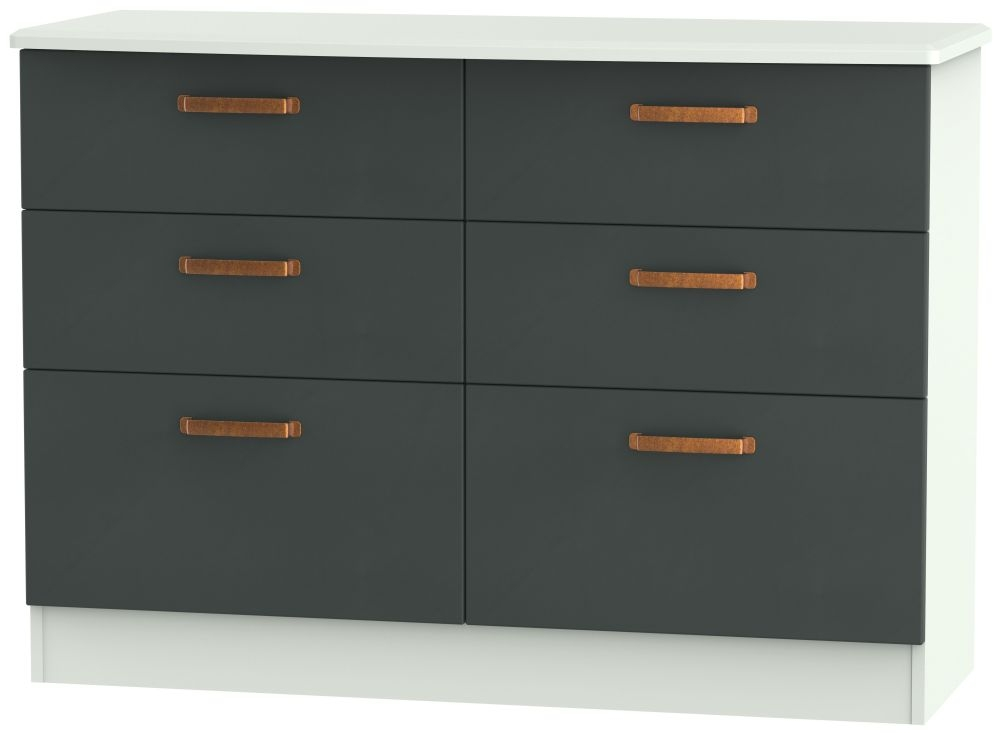 Buckingham Graphite Chest of Drawer - 6 Drawer Midi
