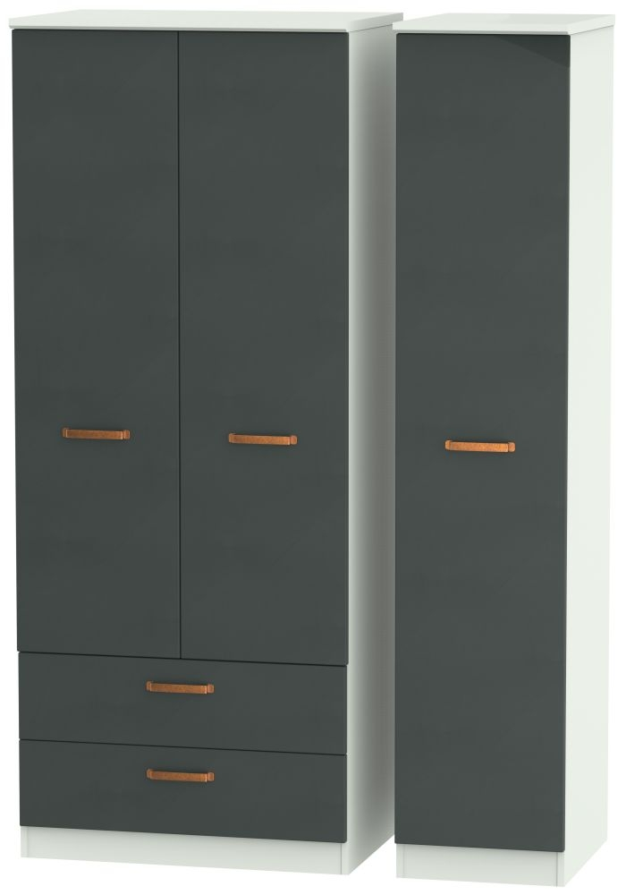 Buckingham Graphite 3 Door 2 Left Drawer Wardrobe