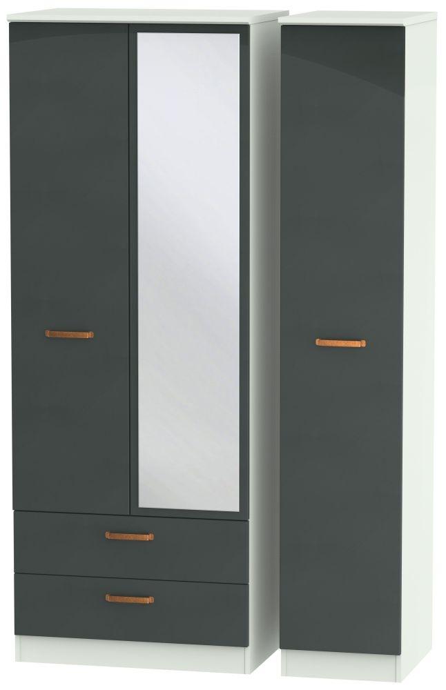 Buckingham Graphite 3 Door 2 Left Drawer Tall Mirror Triple Wardrobe