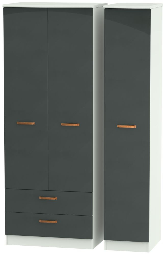 Buckingham Graphite 3 Door 2 Left Drawer Tall Wardrobe