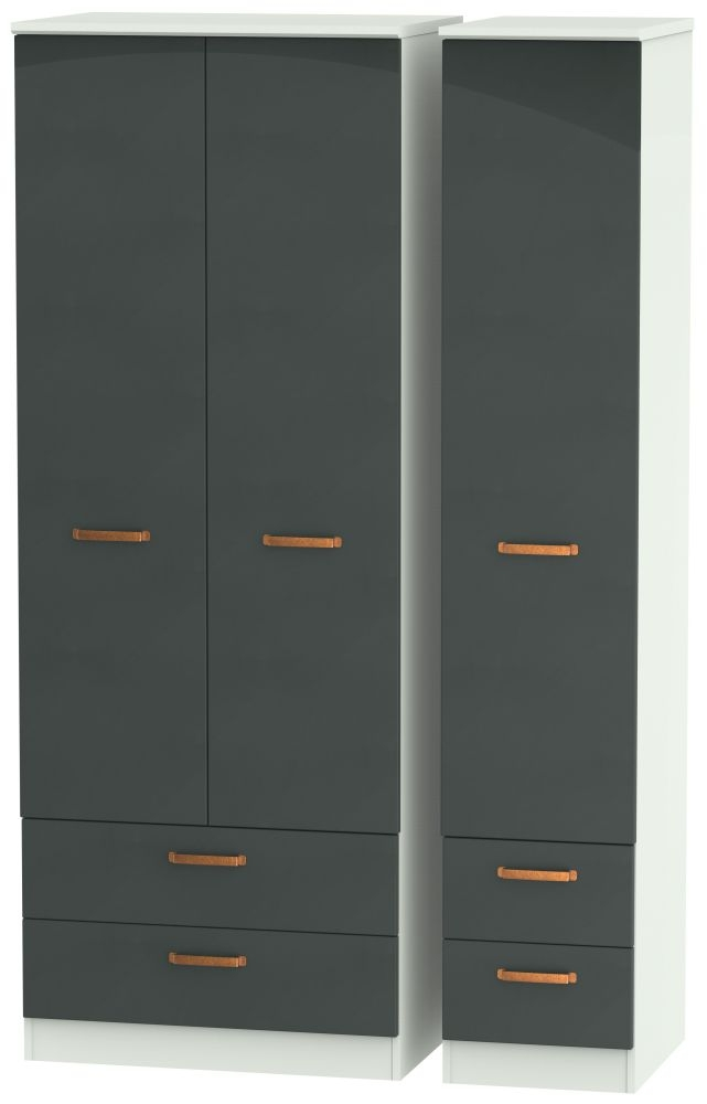 Buckingham Graphite 3 Door 4 Drawer Tall Wardrobe