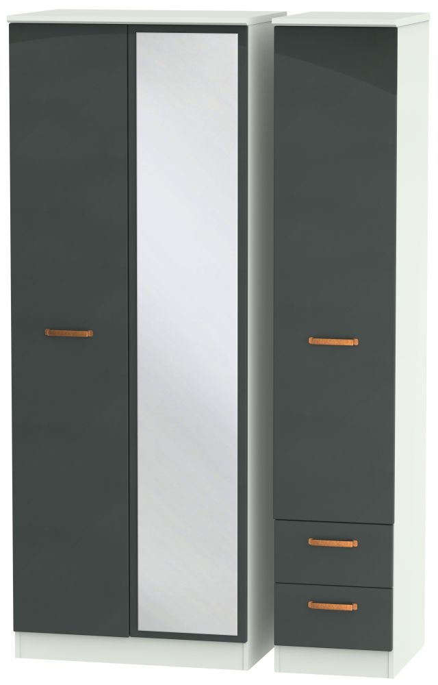 Buckingham Graphite 3 Door 2 Right Drawer Tall Combi Wardrobe