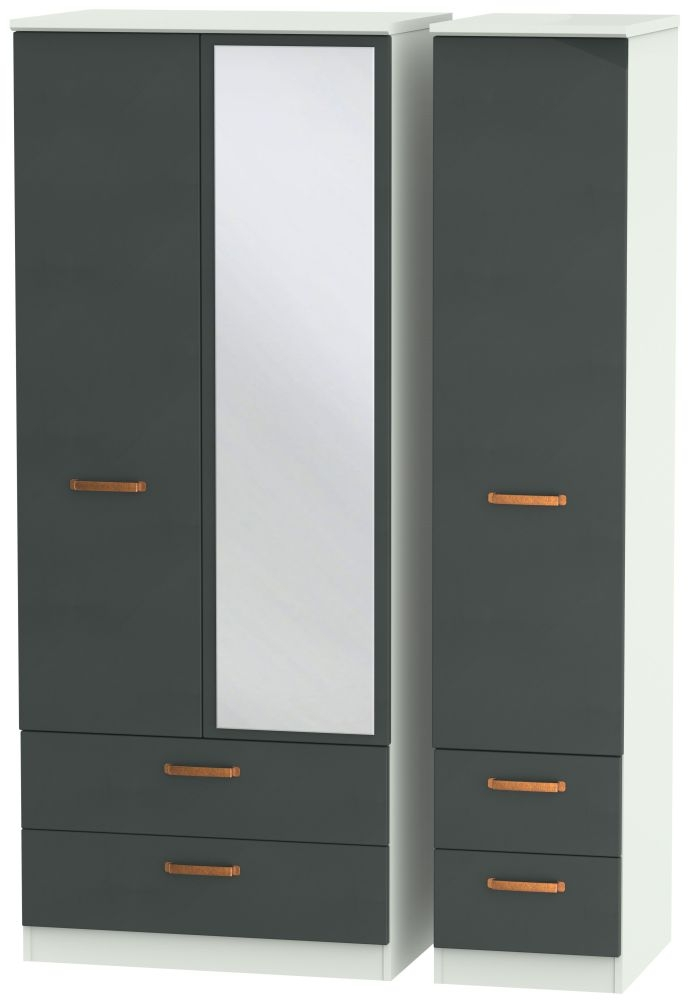 Buckingham Graphite 3 Door 4 Drawer Mirror Wardrobe
