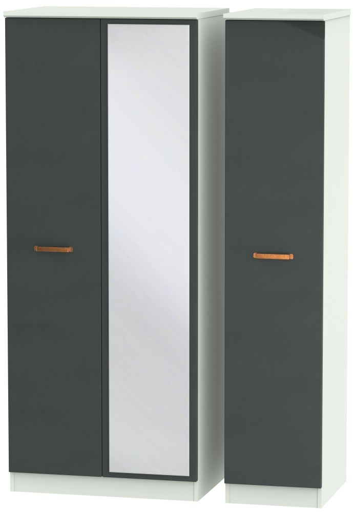 Buckingham Graphite 3 Door Mirror Triple Wardrobe