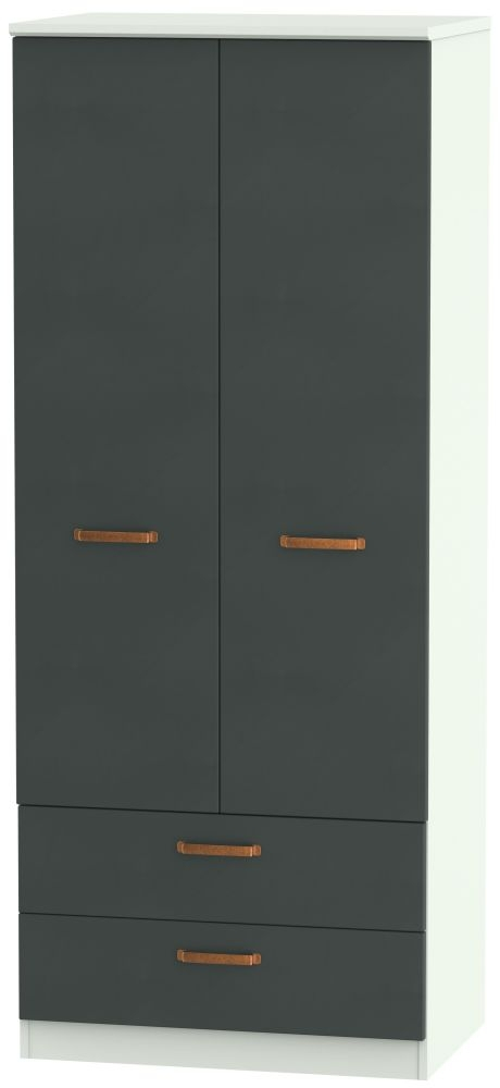 Buckingham Graphite Wardrobe - 2ft 6in 2 Drawer