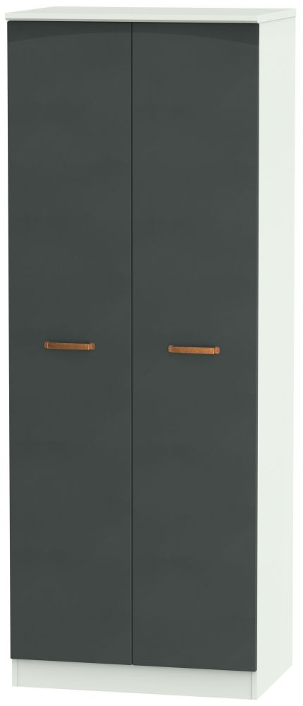 Buckingham Graphite 2 Door Tall Plain Double Wardrobe