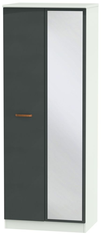 Buckingham Graphite 2 Door Tall Mirror Wardrobe