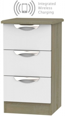 Camden 3 Drawer Bedside Cabinet with Integrated Wireless Charging - Grey and Darkolino