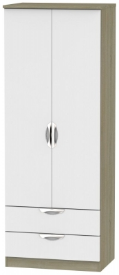 Camden 2 Door 2 Drawer Tall Wardrobe - Grey and Darkolino
