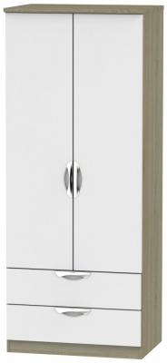Camden 2 Door 2 Drawer Wardrobe - Grey and Darkolino