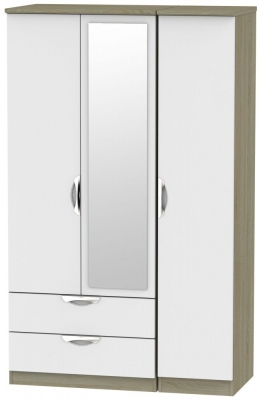 Camden 3 Door 2 Left Drawer Mirror Wardrobe - Grey and Darkolino