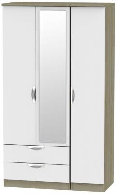 Camden 3 Door 2 Left Drawer Tall Combi Wardrobe - Grey and Darkolino