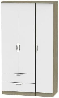 Camden 3 Door 2 Left Drawer Tall Wardrobe - Grey and Darkolino