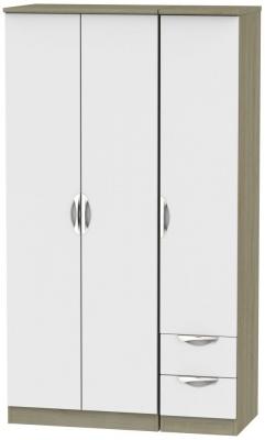 Camden 3 Door 2 Right Drawer Tall Wardrobe - Grey and Darkolino