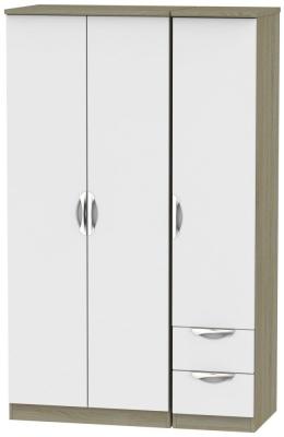Camden 3 Door 2 Right Drawer Wardrobe - Grey and Darkolino