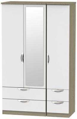Camden 3 Door 4 Drawer Mirror Wardrobe - Grey and Darkolino