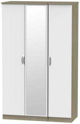 Camden 3 Door Mirror Wardrobe - Grey and Darkolino