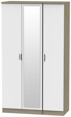 Camden 3 Door Tall Mirror Wardrobe - Grey and Darkolino