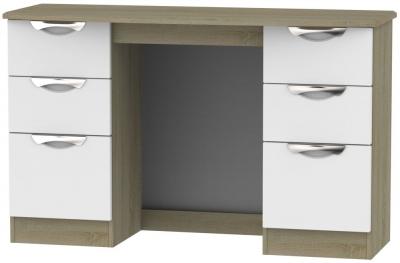 Camden Double Pedestal Dressing Table - Grey and Darkolino