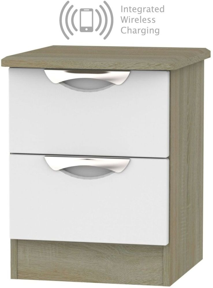 Camden 2 Drawer Bedside Cabinet with Integrated Wireless Charging - Grey and Darkolino