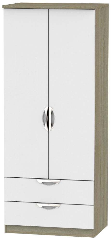 Camden 2 Door 2 Drawer Wardrobe - Grey and Darkolino