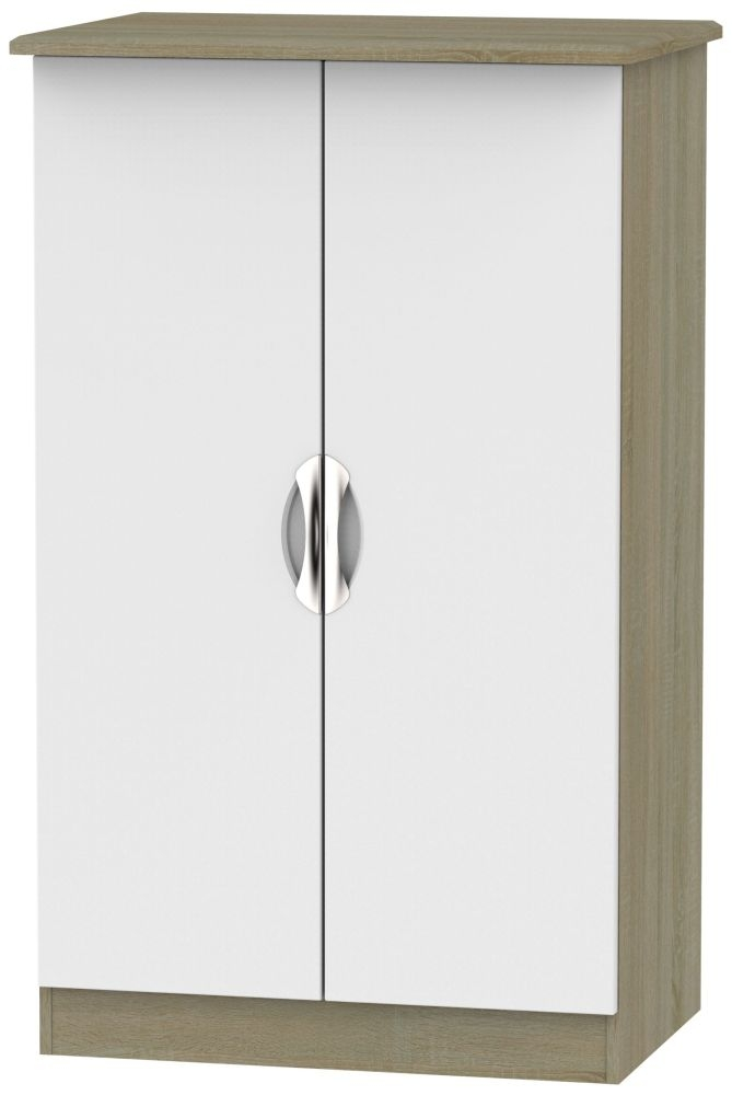 Camden 2 Door Midi Wardrobe - Grey and Darkolino