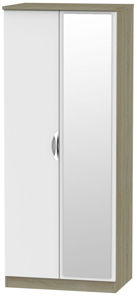 Camden 2 Door Mirror Wardrobe - Grey and Darkolino