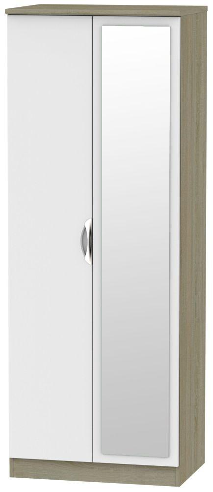 Camden 2 Door Tall Mirror Wardrobe - Grey and Darkolino