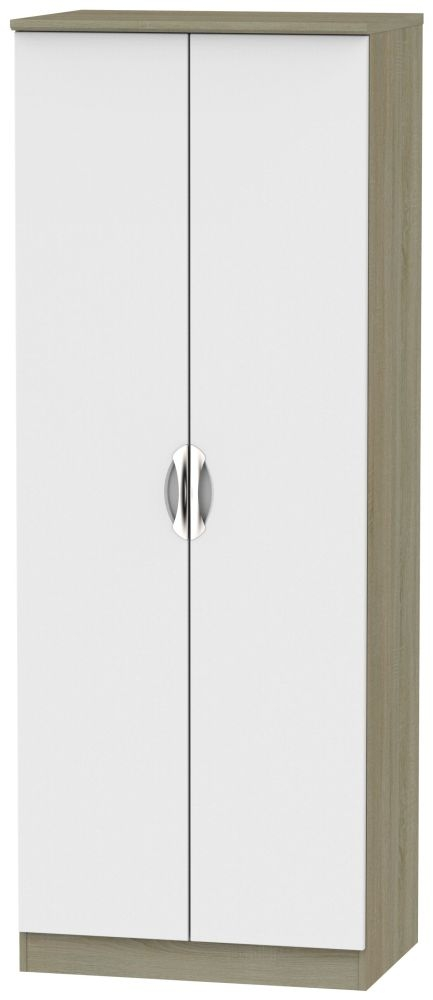 Camden 2 Door Tall Wardrobe - Grey and Darkolino