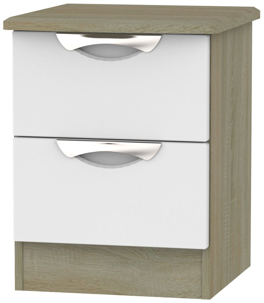 Camden 2 Drawer Bedside Cabinet - Grey and Darkolino