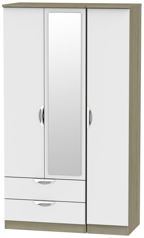 Camden 3 Door 2 Left Drawer Tall Combi Wardrobe - Grey and Darkolino