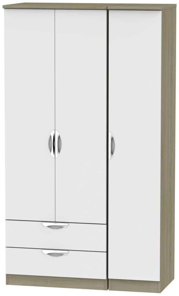 Camden 3 Door 2 Left Drawer Tall Wardrobe - Grey and Darkolino