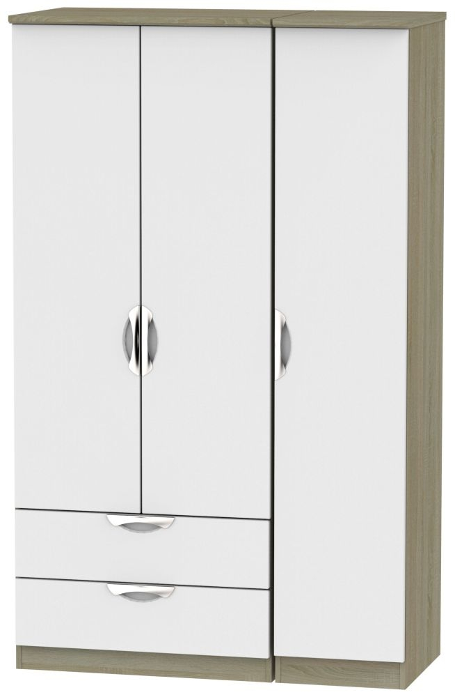Camden 3 Door 2 Left Drawer Wardrobe - Grey and Darkolino