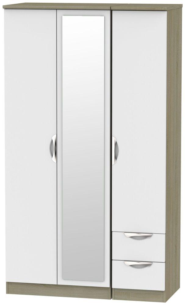 Camden 3 Door 2 Right Drawer Tall Combi Wardrobe - Grey and Darkolino