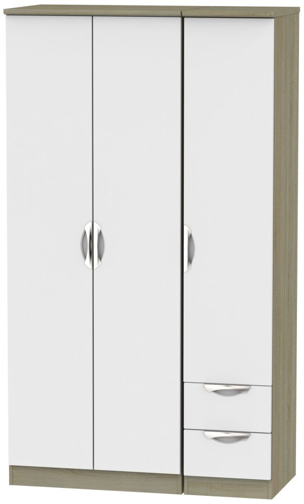 Camden 3 Door 2 Right Drawer Tall Wardrobe - Grey and Darkolino