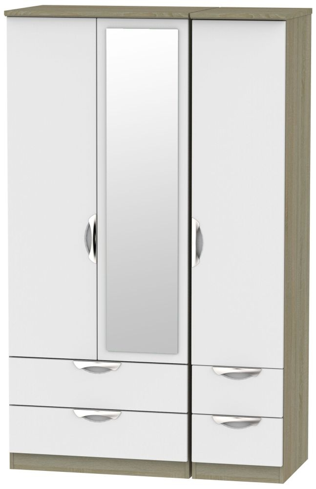 Camden 3 Door 4 Drawer Mirror Wardrobe - Grey and Darkolino